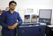 Aniket Rane with the Konica Minolta C2060 digital press installed at Maximus in Shah & Nahar in Lower Parel in Mumbai. Photo IPP