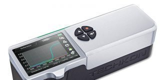 The Techkon SpectroDens is a handheld spectrophotometer which is able to do densitometric measurements as well as spectral readings. It also supports scan mode when reading for example rows of patches for quality control.