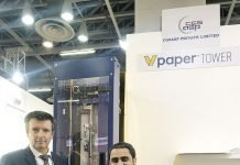 Luc Augustinus and Kunal Gandhi alongside the VPaper Tower. Photo PSA