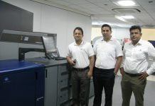 Konica minolta team at the demonstration in Gurugram.