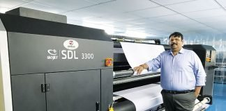 Nitin Gami alongside the new Skyjet SDL 3300 at Perfect Scan