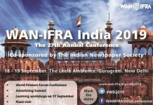 The 27th WAN IFRA annual conference will take place between 18 and 19 September 2019 at the Leela Ambience, Gurugram.