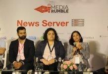 Rahul Kapoor, head of Large Partnerships at Google India, Kavya Sukumar, developer at Hearken, Rashmi Mittal, vice president of Engineering at Quintype at Media Rumble
