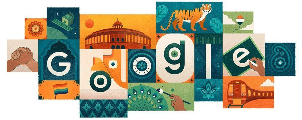 Google doodle for Independence Day