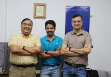BS Shesh, vice president of supply chain, Prasada, general manager of supply chain, and Puneet Razdan, general manager of HT Media at the HT Media plant in Greater Noida. Photo IPP
