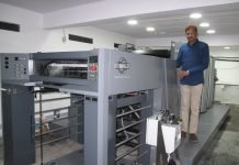 N Nageswara Rao of Express Printers with the new RMGT 790ST-XL 4-color offset press