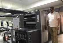 K Kanagaraj, managing partner, Classic Cards, with the news new Heidelberg SX 74 sheetfed offset press at his plant in Coimbatore. . Photo IPP