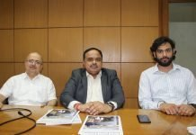 Sunil Khullar, director of technology, Yashpal Bindra, chief executive officer, and Akshay Bindra, manager of sales, Summit Information Technologies, at the Summit office in Gurgaon. Photo IPP