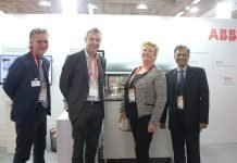 Thomas Tegnerud, service manager, Lorentzen & Wettre Products, Pupl & Paper Solutions, ABB, Per Sandstrom, manager Lorentzen & Wettre, ABB, Klara Martens Ekblad, global sales manager for Lorentzen & Wettre Products, ABB and Manoj Sukumaran, area sales manager, L&W Products, Process Industries, Industrial Automation Divison, ABB with L&W Autoline S quality management system. Photo IPP
