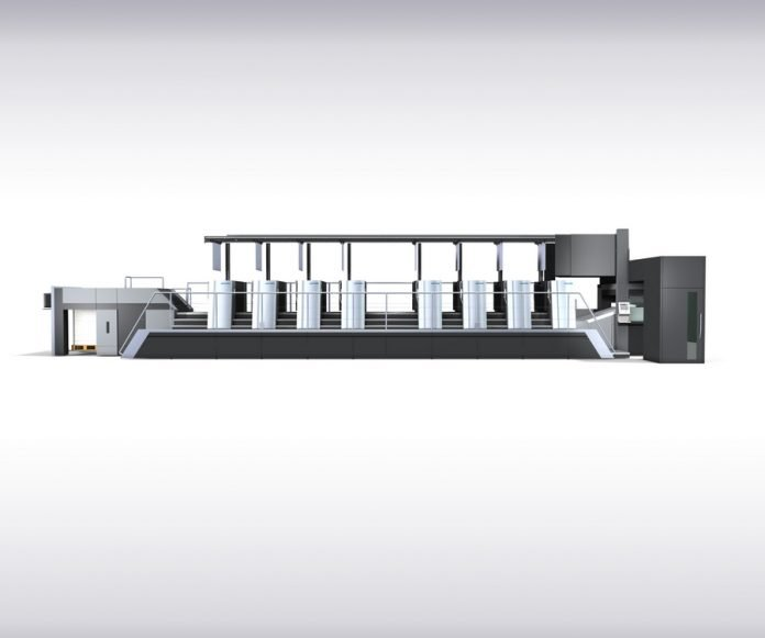 The new Speedmaster drupa 2020 generation – here the Speedmaster XL 106 8-color press with fully automatic printing plate logistics