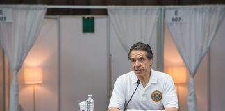 Governor Andrew Cuomo of New York holding a press conference on the Coronavirus situation on 28 March 2020 at the Javits Center
