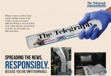 ABP's Telegraph in Calcutta, India, produces an advertisement showing the safety measures — from production to distribution to street sales — being undertaken to ensure print is safe for readers.