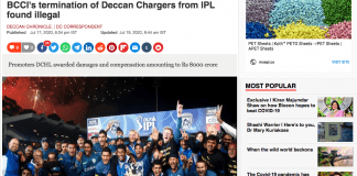 The Deccan Chronicle reports on the arbitration award with a photo of the 2008 IPL championship winning Deccan Charger team Screen shot via Internet
