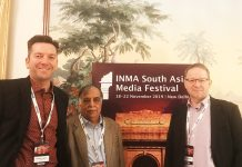 Andreas Gawert, Hemant Kumar and Matthias Fischer of ppi Media at the INMA South Asia event in New Delhi in the autumn of 2019