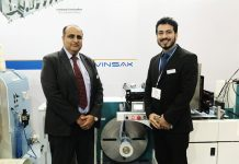 Ranesh Bajaj, director of Vinsak and Tilak Raj from the Marketing and Communications department of the company at Labelexpo India 2018.