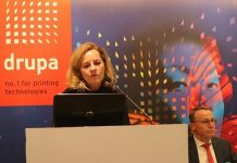 Sabine Geldermann at the drupa 2020 promotion event in 2019 in New Delhi Photo IPP