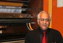 VK Dhir at the Printpack 2011 exhibition at Pragati Maidan with the Perfect Rotary 4-Hi tower press unit. Photo IPP